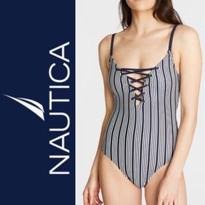 Nautica Dock Lines Striped One Piece Swimsuit NWT